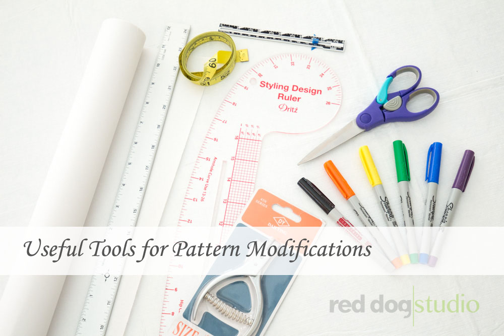 Beginner's collection of supplies for pattern modifications.